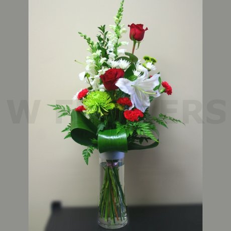 W Flowers product: Winter Vase in White Red and Lime Green