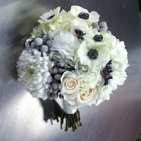 W Flowers product: Winter Wedding Bouquet with Navy Blue Accent