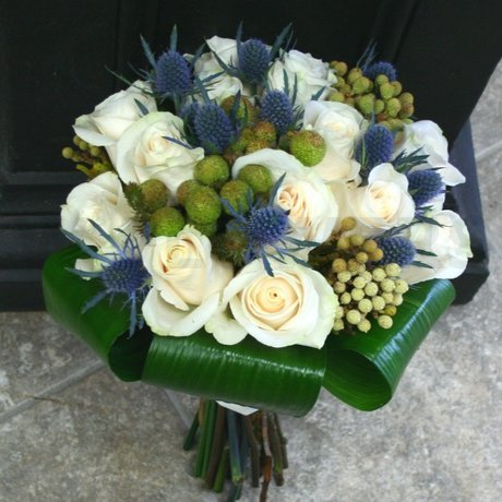W Flowers product: Winter Wedding Bridal Bouquet White and Blue