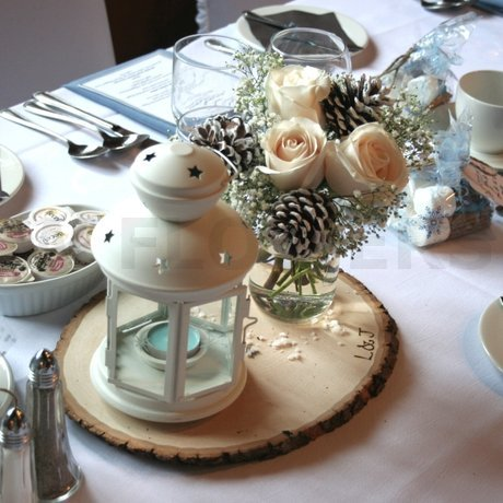 W Flowers product: Winter Wedding Centerpiece with Pine Cones