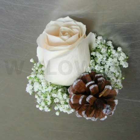 W Flowers product: Winter Wedding Corsage with Pine Cone