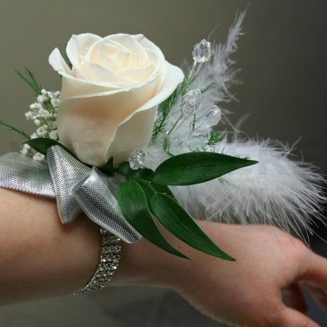 W Flowers product: Wrist corsage with feathers and crystals