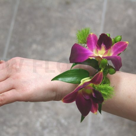 W Flowers product: Wrist Corsage with purple orchids