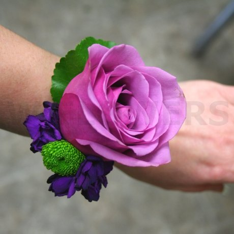 W Flowers product: Wrist corsage with purple rose