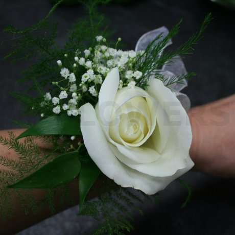 W Flowers product: Wrist Corsage with White Rose