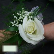 W Flowers product category: Wrist Corsage with White Rose