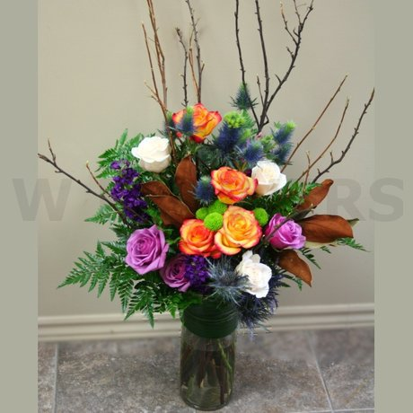 W Flowers Product Autumn Tall Vase Arrangement With Branches