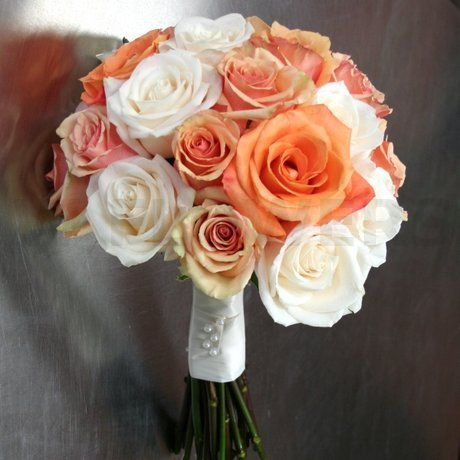 W Flowers Product Wedding Bouquet With Orange And White Roses